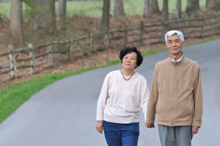Senior couple hand in hand walking on country road